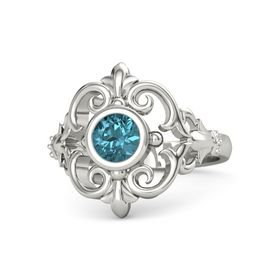 Round London Blue Topaz Palladium Ring