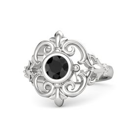Round Black Diamond Sterling Silver Ring