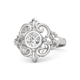 Round White Sapphire Sterling Silver Ring