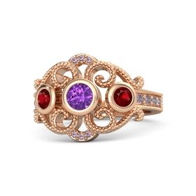 Round Amethyst 14K Rose Gold Ring with Ruby and Rhodolite Garnet