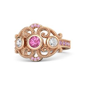 Round Pink Tourmaline 14K Rose Gold Ring with White Sapphire & Pink Tourmaline