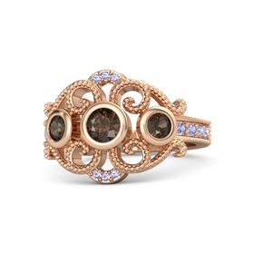 Round Smoky Quartz 14K Rose Gold Ring with Smoky Quartz and Tanzanite