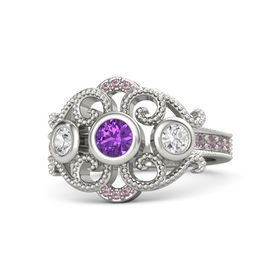 Round Amethyst 14K White Gold Ring with White Sapphire & Rhodolite Garnet