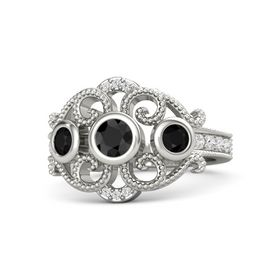 Round Black Diamond 14K White Gold Ring with Black Onyx and White Sapphire