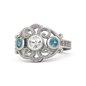 Round Rock Crystal 14K White Gold Ring with London Blue Topaz and Rhodolite Garnet