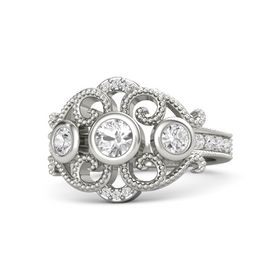 Round Rock Crystal 14K White Gold Ring with White Sapphire