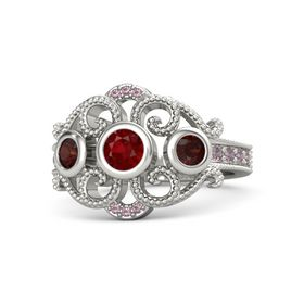 Round Ruby 14K White Gold Ring with Red Garnet and Rhodolite Garnet