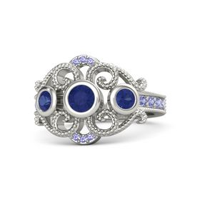 Round Blue Sapphire 14K White Gold Ring with Blue Sapphire and Iolite