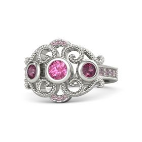 Round Pink Tourmaline 14K White Gold Ring with Rhodolite Garnet