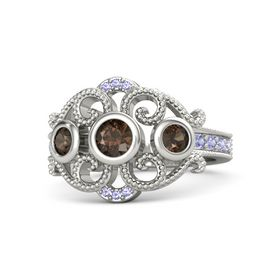 Round Smoky Quartz 14K White Gold Ring with Smoky Quartz and Tanzanite