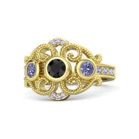 Round Black Diamond 14K Yellow Gold Ring with Tanzanite