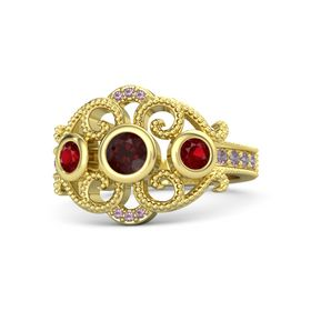Round Red Garnet 14K Yellow Gold Ring with Ruby and Rhodolite Garnet