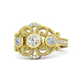 Round White Sapphire 14K Yellow Gold Ring with Diamond