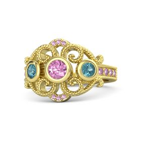 Round Pink Sapphire 14K Yellow Gold Ring with London Blue Topaz and Pink Sapphire