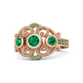 Round Emerald 18K Rose Gold Ring with Emerald