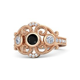 Round Black Onyx 18K Rose Gold Ring with Diamond