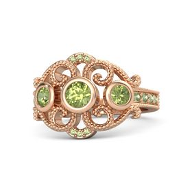 Round Peridot 18K Rose Gold Ring with Peridot