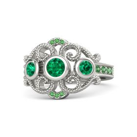 Round Emerald 18K White Gold Ring with Emerald