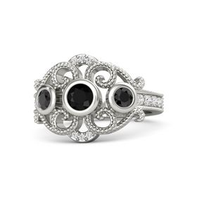 Round Black Onyx 18K White Gold Ring with Black Diamond and White Sapphire