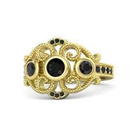 Round Black Onyx 18K Yellow Gold Ring with Black Diamond