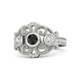 Round Black Diamond Palladium Ring with White Sapphire