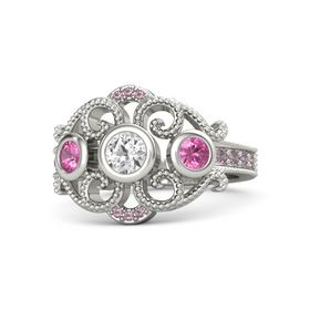 Round White Sapphire Palladium Ring with Pink Tourmaline and Rhodolite Garnet