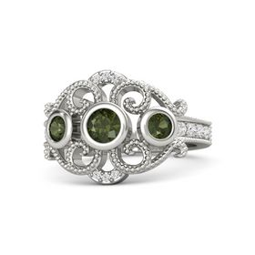 Round Green Tourmaline Palladium Ring with Green Tourmaline and White Sapphire
