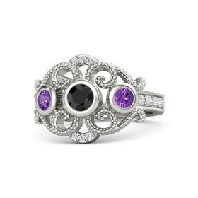Round Black Diamond Platinum Ring with Amethyst and White Sapphire