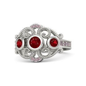 Round Ruby Platinum Ring with Ruby and Rhodolite Garnet