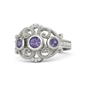 Round Iolite Platinum Ring with Iolite and White Sapphire