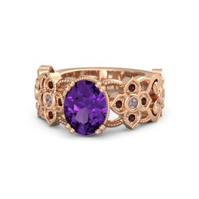 Oval Amethyst 14K Rose Gold Ring with Rhodolite Garnet and Red Garnet