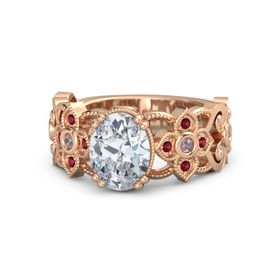 Oval Diamond 14K Rose Gold Ring with Rhodolite Garnet and Ruby