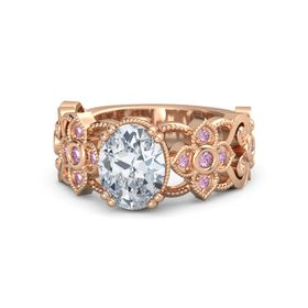 Oval Diamond 14K Rose Gold Ring with Pink Sapphire