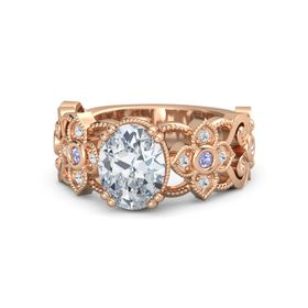 Oval Diamond 14K Rose Gold Ring with Tanzanite and White Sapphire
