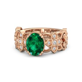 Oval Emerald 14K Rose Gold Ring with White Sapphire