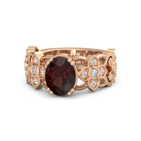 Oval Red Garnet 14K Rose Gold Ring with Diamond and White Sapphire