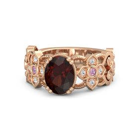 Oval Red Garnet 14K Rose Gold Ring with Pink Tourmaline and White Sapphire
