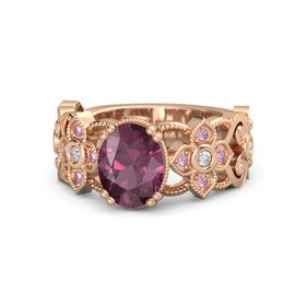 Oval Rhodolite Garnet 14K Rose Gold Ring with Diamond & Pink Sapphire