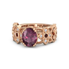 Oval Rhodolite Garnet 14K Rose Gold Ring with Red Garnet and Diamond