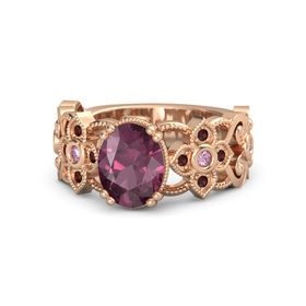 Oval Rhodolite Garnet 14K Rose Gold Ring with Pink Sapphire & Red Garnet