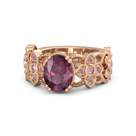 Oval Rhodolite Garnet 14K Rose Gold Ring with Pink Sapphire and Rhodolite Garnet