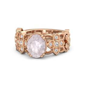 Oval Rose Quartz 14K Rose Gold Ring with White Sapphire