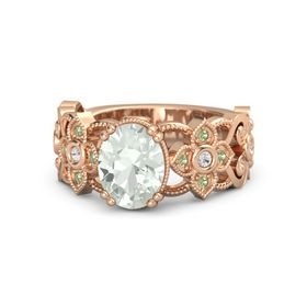 Oval Green Amethyst 14K Rose Gold Ring with White Sapphire and Peridot