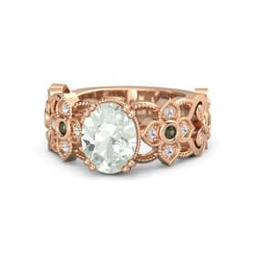 Oval Green Amethyst 14K Rose Gold Ring with Green Tourmaline and White Sapphire