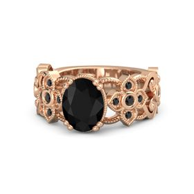 Oval Black Onyx 14K Rose Gold Ring with Black Diamond