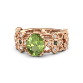 Oval Peridot 14K Rose Gold Ring with Green Tourmaline and White Sapphire