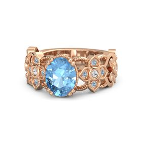Oval Blue Topaz 14K Rose Gold Ring with White Sapphire and Blue Topaz