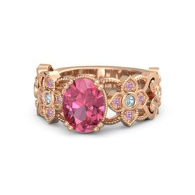 Oval Pink Tourmaline 14K Rose Gold Ring with Aquamarine and Pink Tourmaline