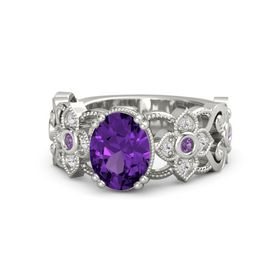 Oval Amethyst 14K White Gold Ring with Amethyst & White Sapphire