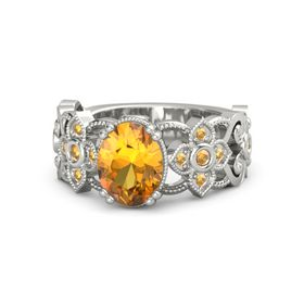 Oval Citrine 14K White Gold Ring with Citrine